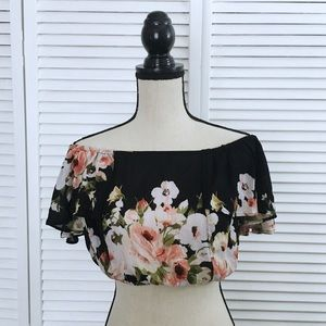 Band of Gypsies Floral Off The Shoulder Crop Top